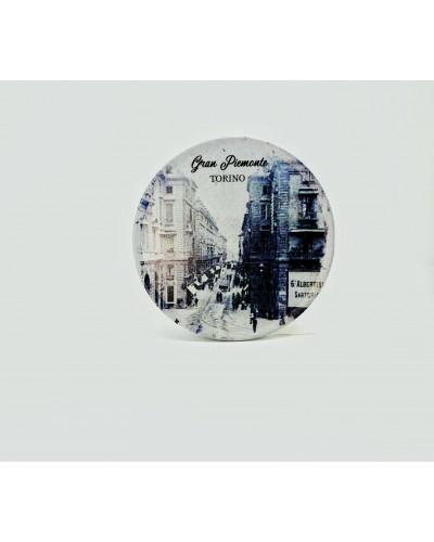 Scatola in latta, rotonda con immagine di Torino